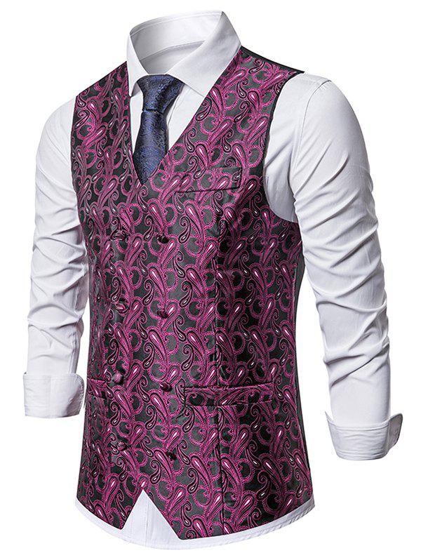 Latest Double Breasted Paisley Print Business Vest