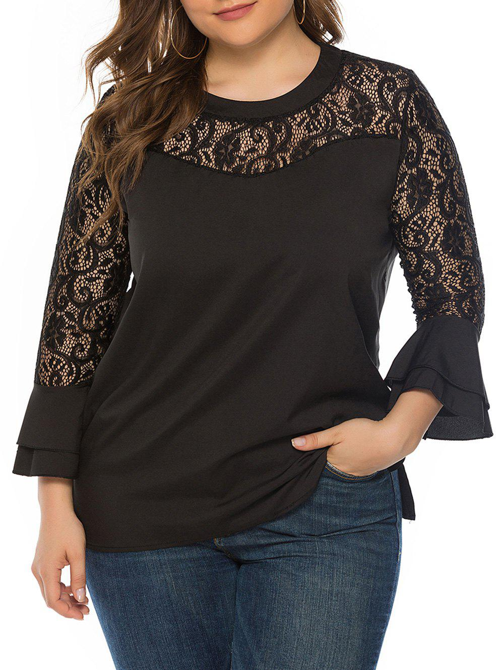 Outfits Layered Flare Sleeve Lace Panel Plus Size Blouse