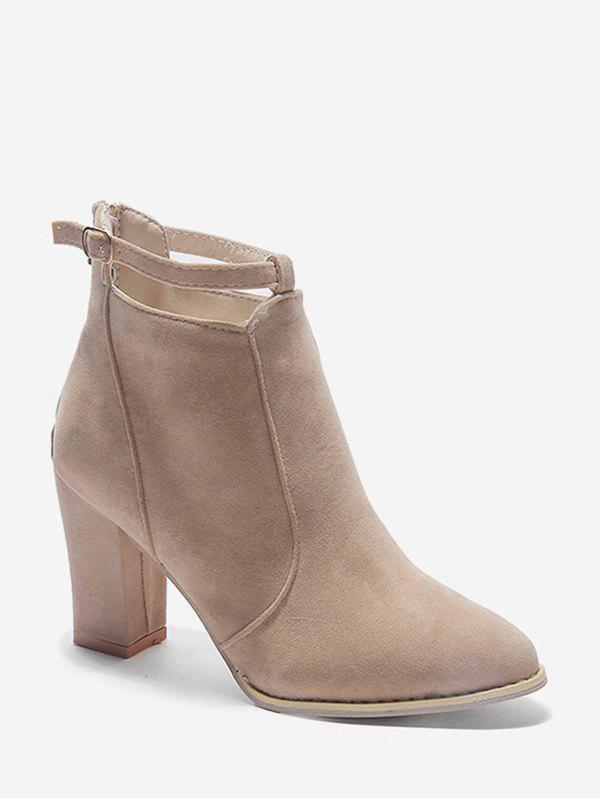 Sale Buckle Strap Accent Suede Ankle Boots