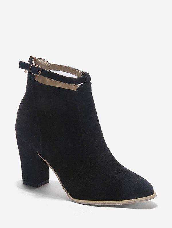 Online Buckle Strap Accent Suede Ankle Boots