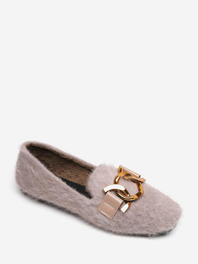 Store Metal Accent Slip On Fuzzy Flats