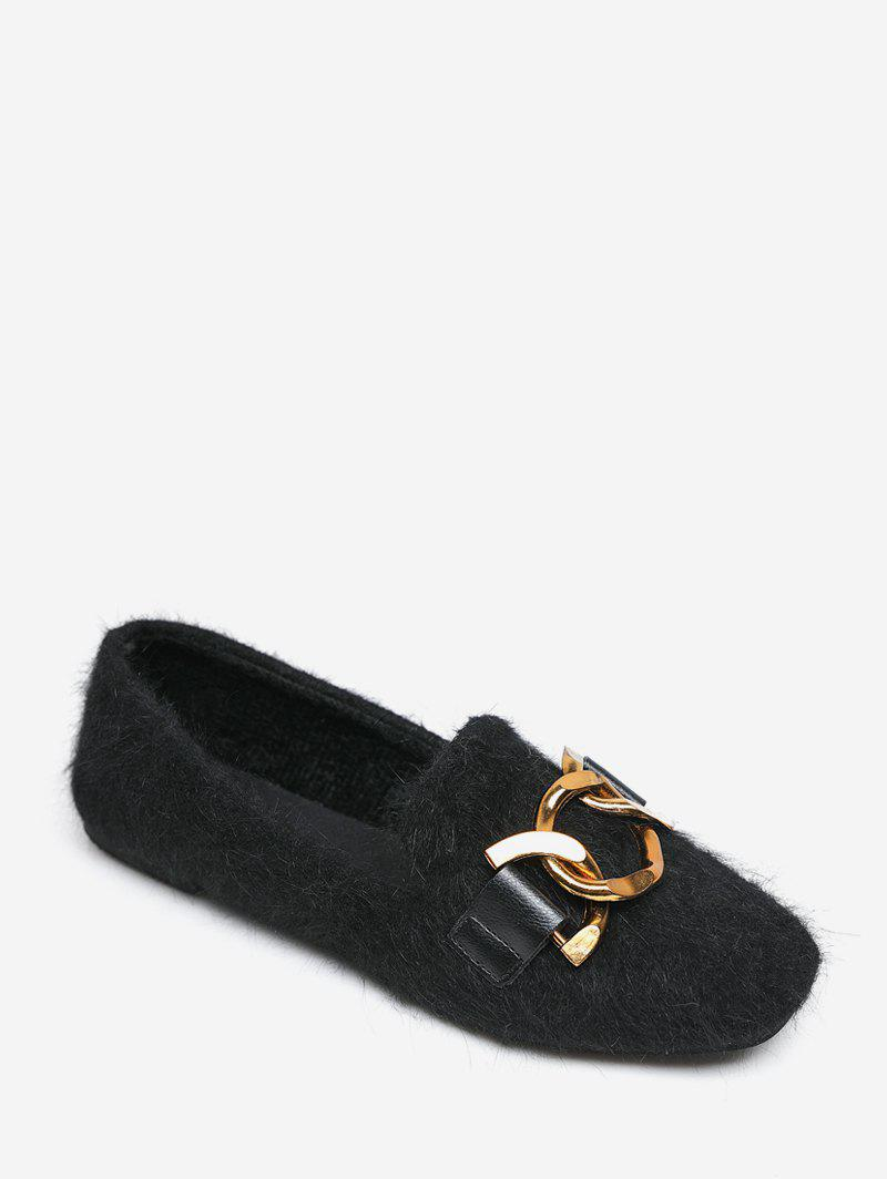 Cheap Metal Accent Slip On Fuzzy Flats