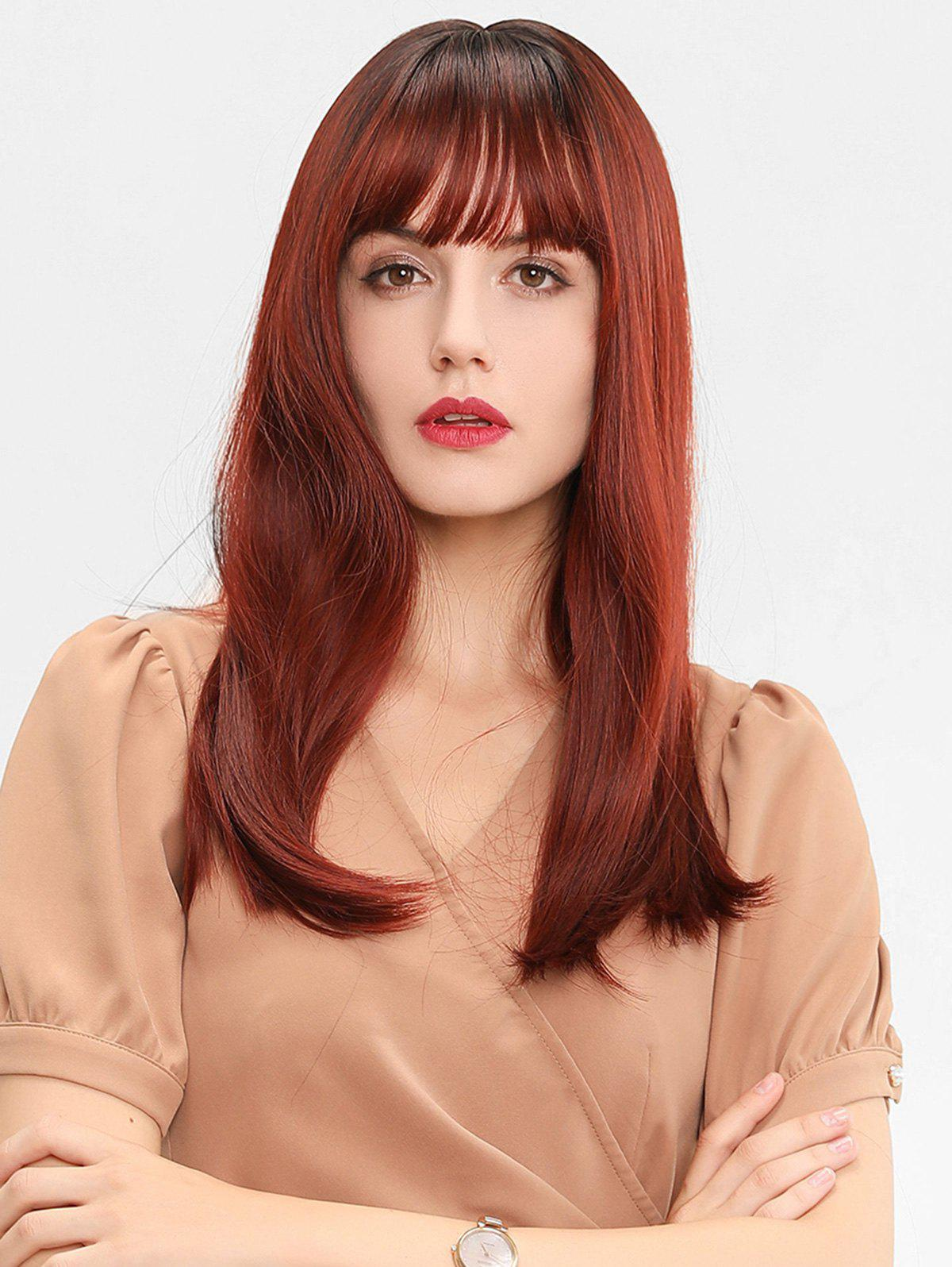 Trendy Full Bang Long Straight Ombre Synthetic Wig