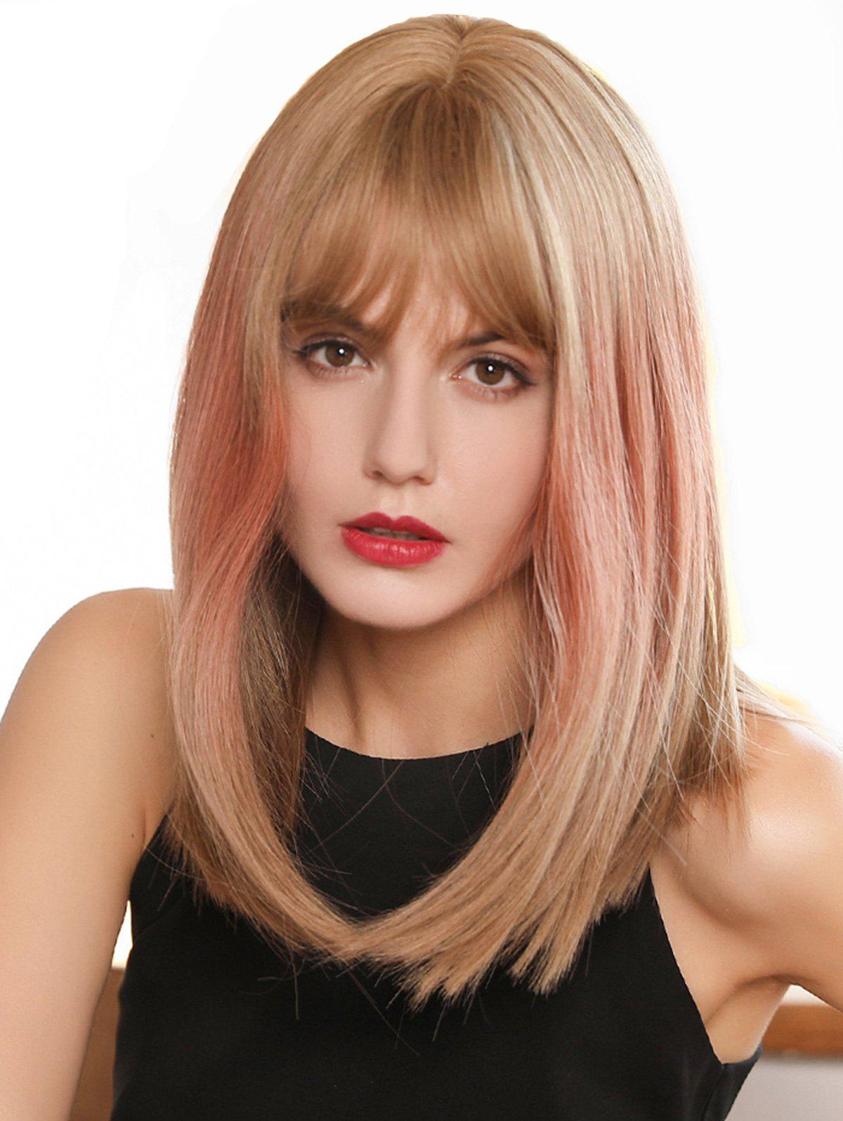 Discount See-through Bang Straight Medium Ombre Synthetic Wig