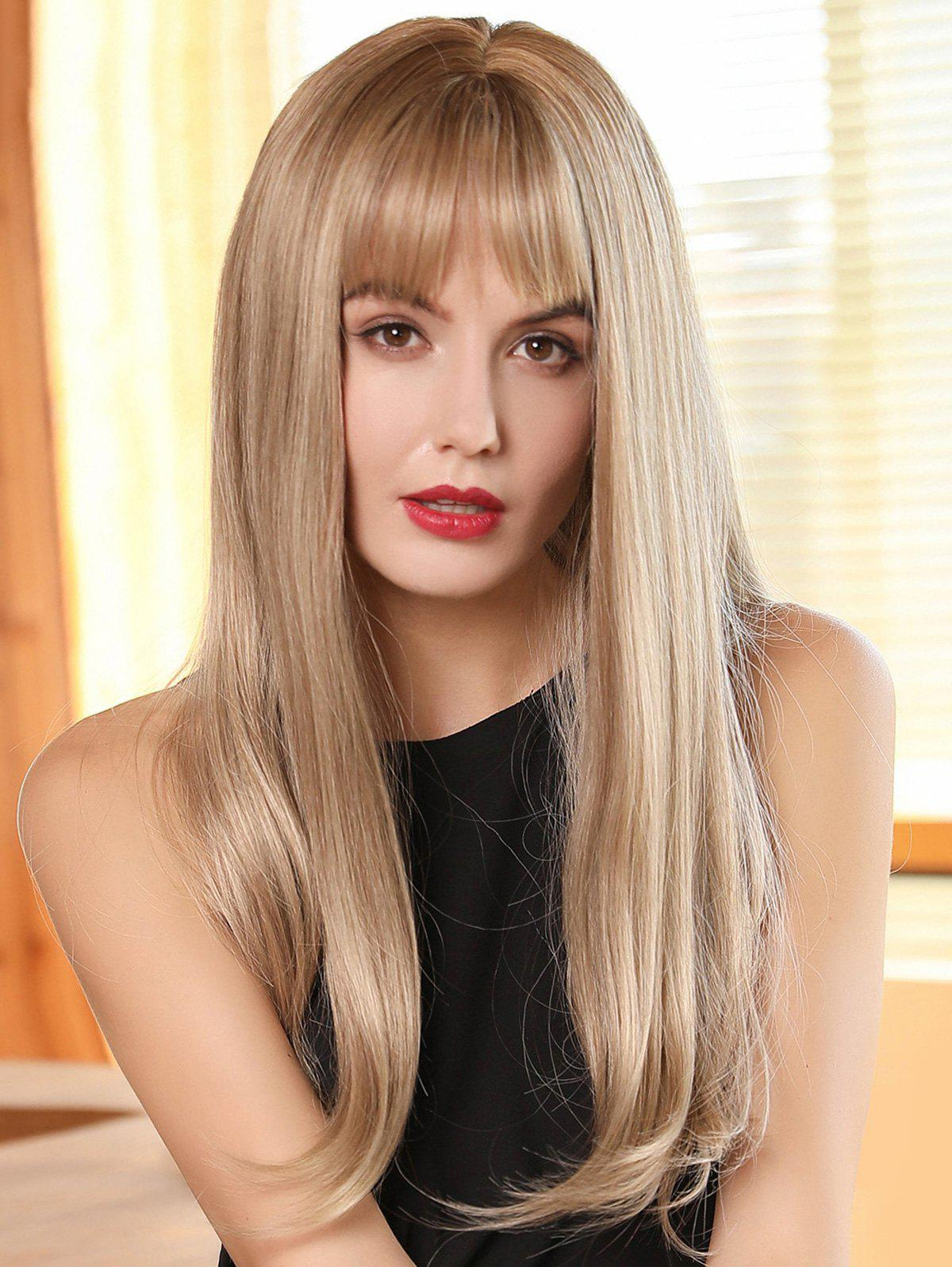 Fashion See-through Bang Long Straight Ombre Synthetic Wig