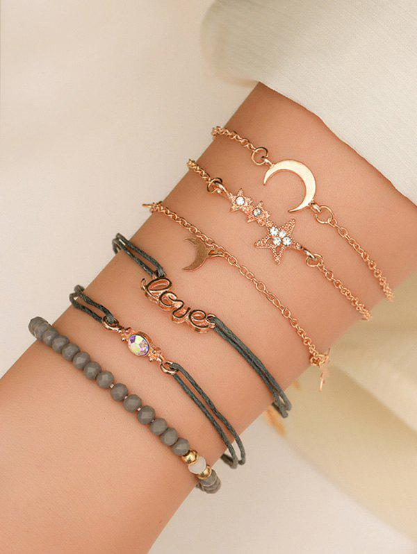Shop 6Pcs Star Moon Letter Beaded Bracelet Set