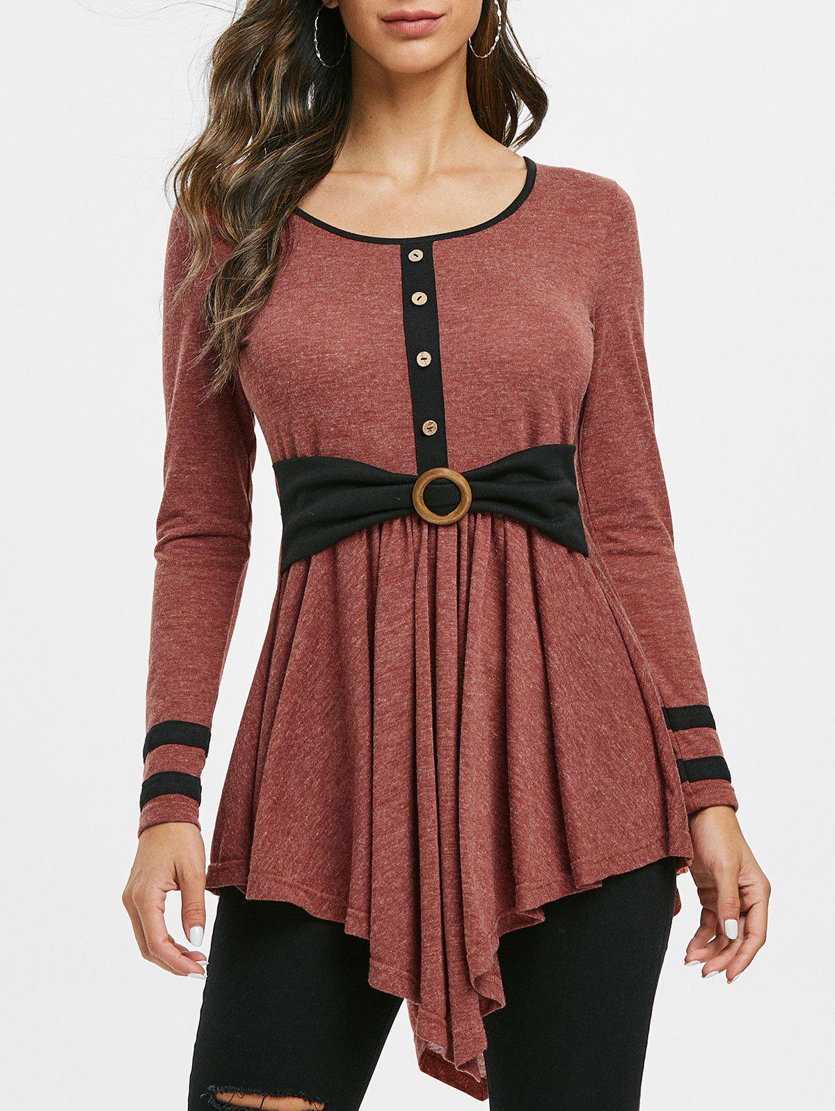 Outfits Button Embellished Striped Longline T-shirt