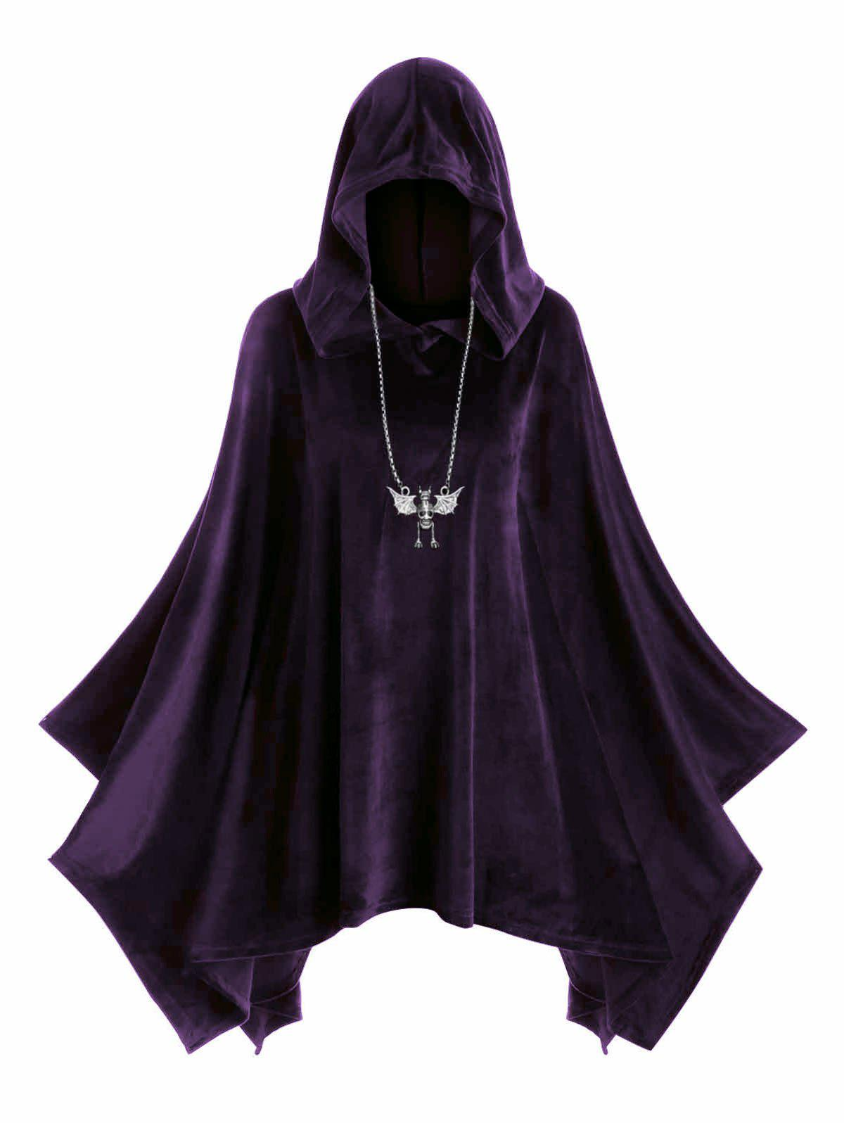 Fashion Plus Size Hooded Velvet Poncho