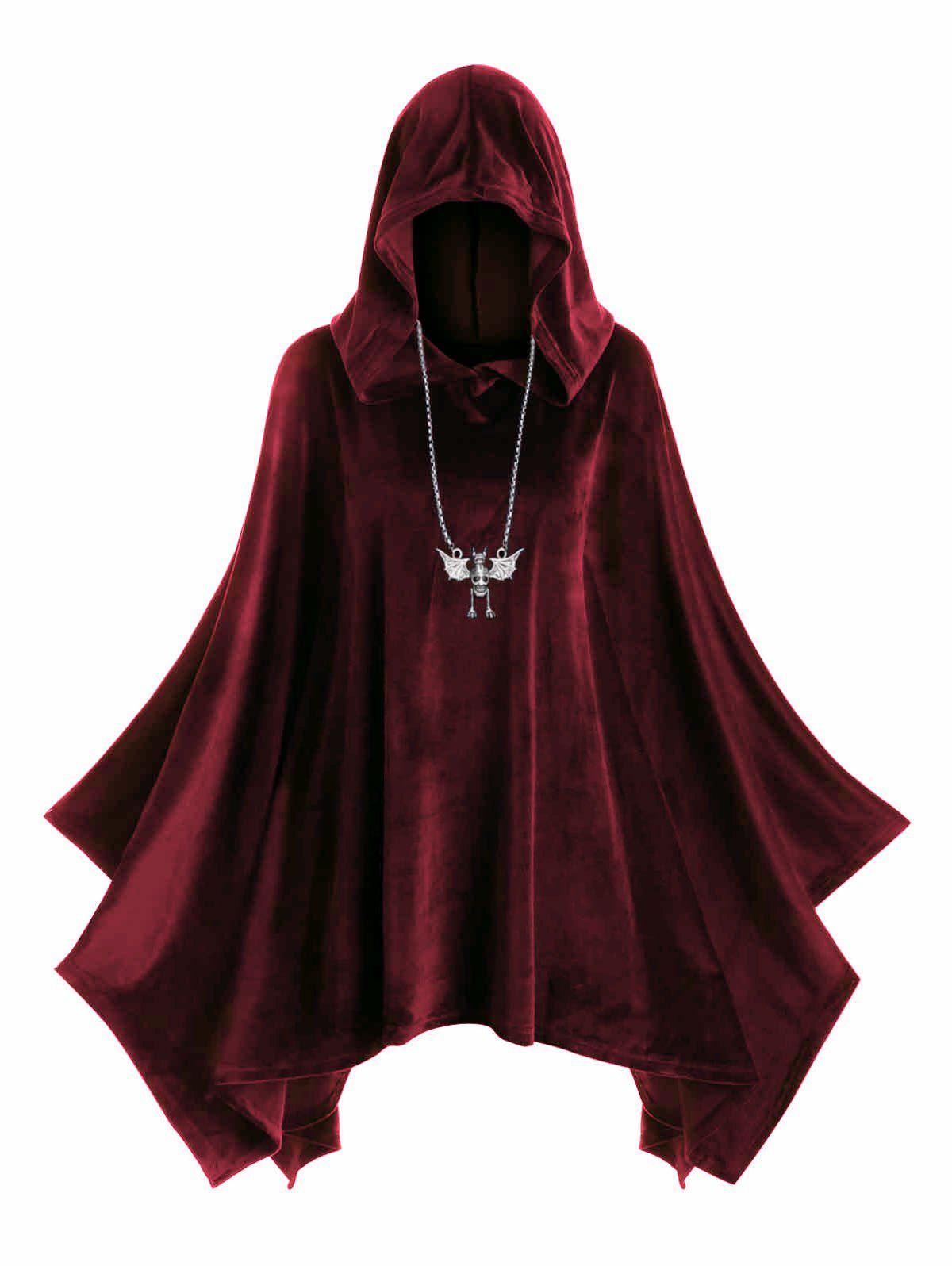 Outfit Plus Size Hooded Velvet Poncho