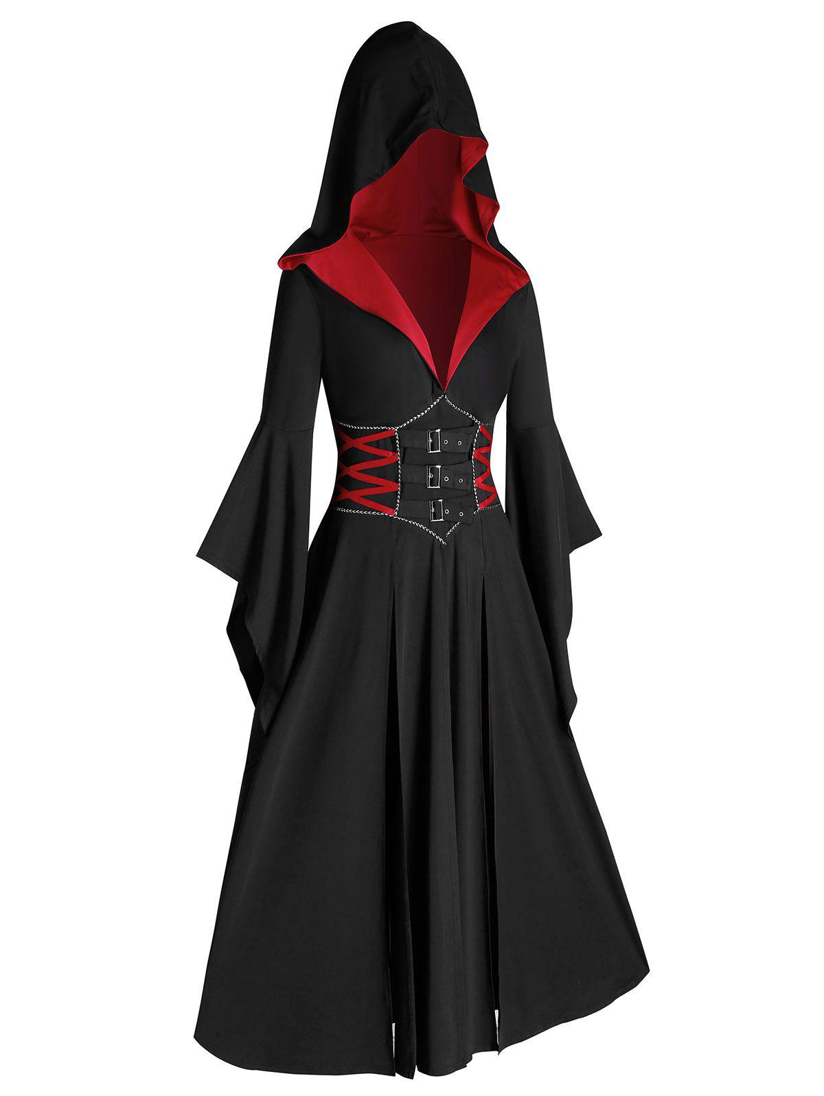 Outfit Plus Size Halloween Flare Sleeve Hooded Slit Long Gothic Coat