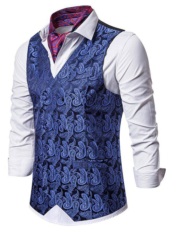 Fashion Paisley Jacquard Double Breasted Business Vest