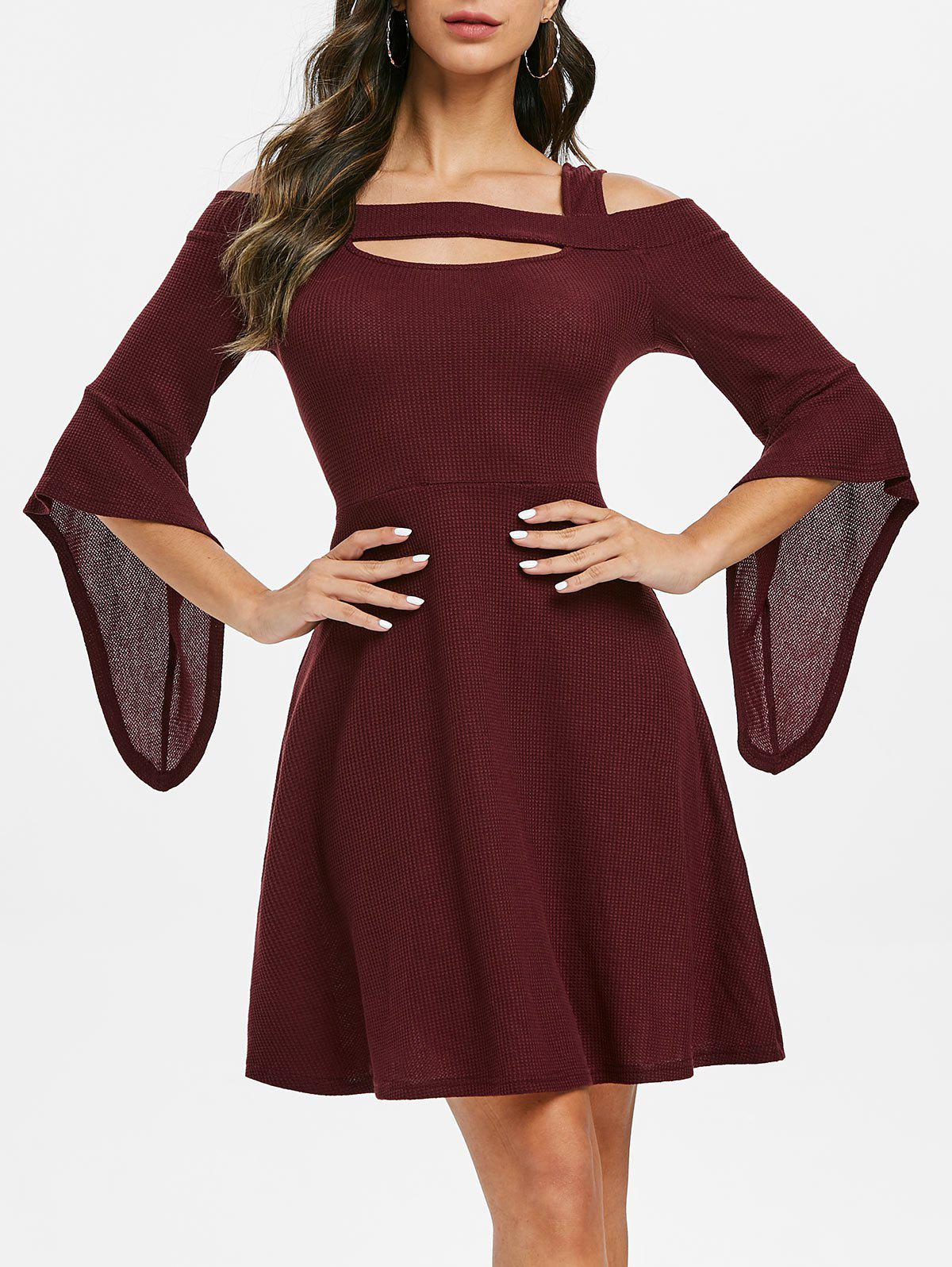 Unique Square Collar Solid Open Shoulder Fit And Flare Dress