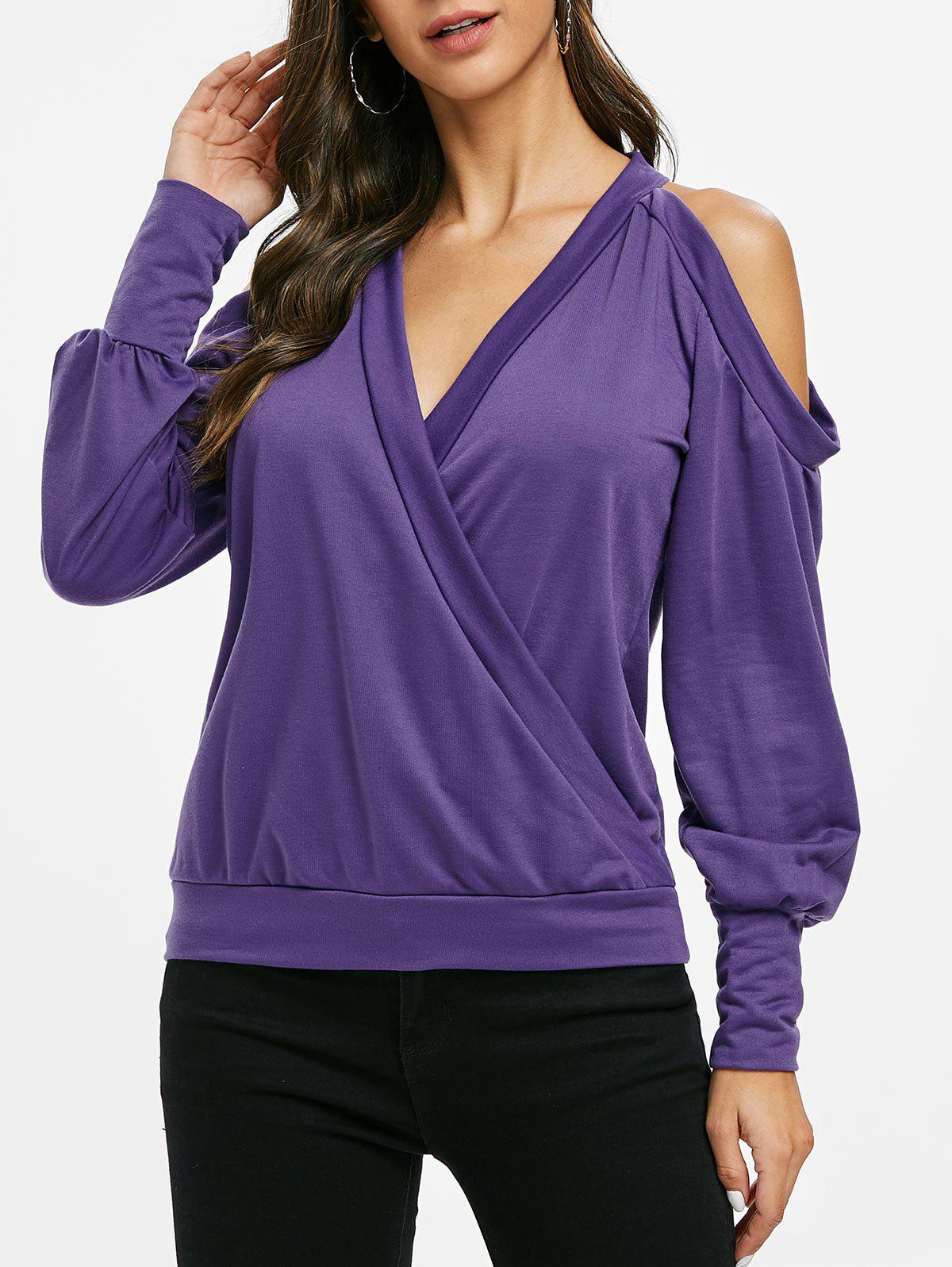 Online Plunge Cold Shoulder Long Sleeve Surplice Top