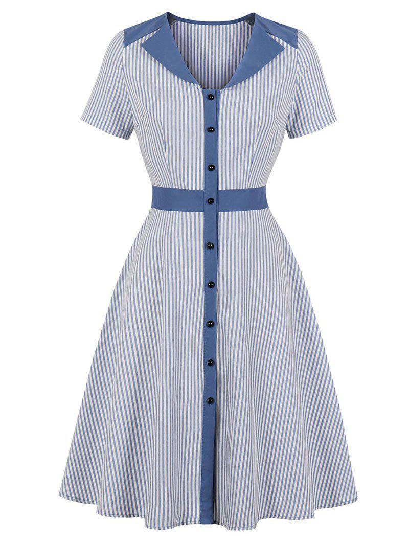 Discount Stripe A Line V Neck Dress