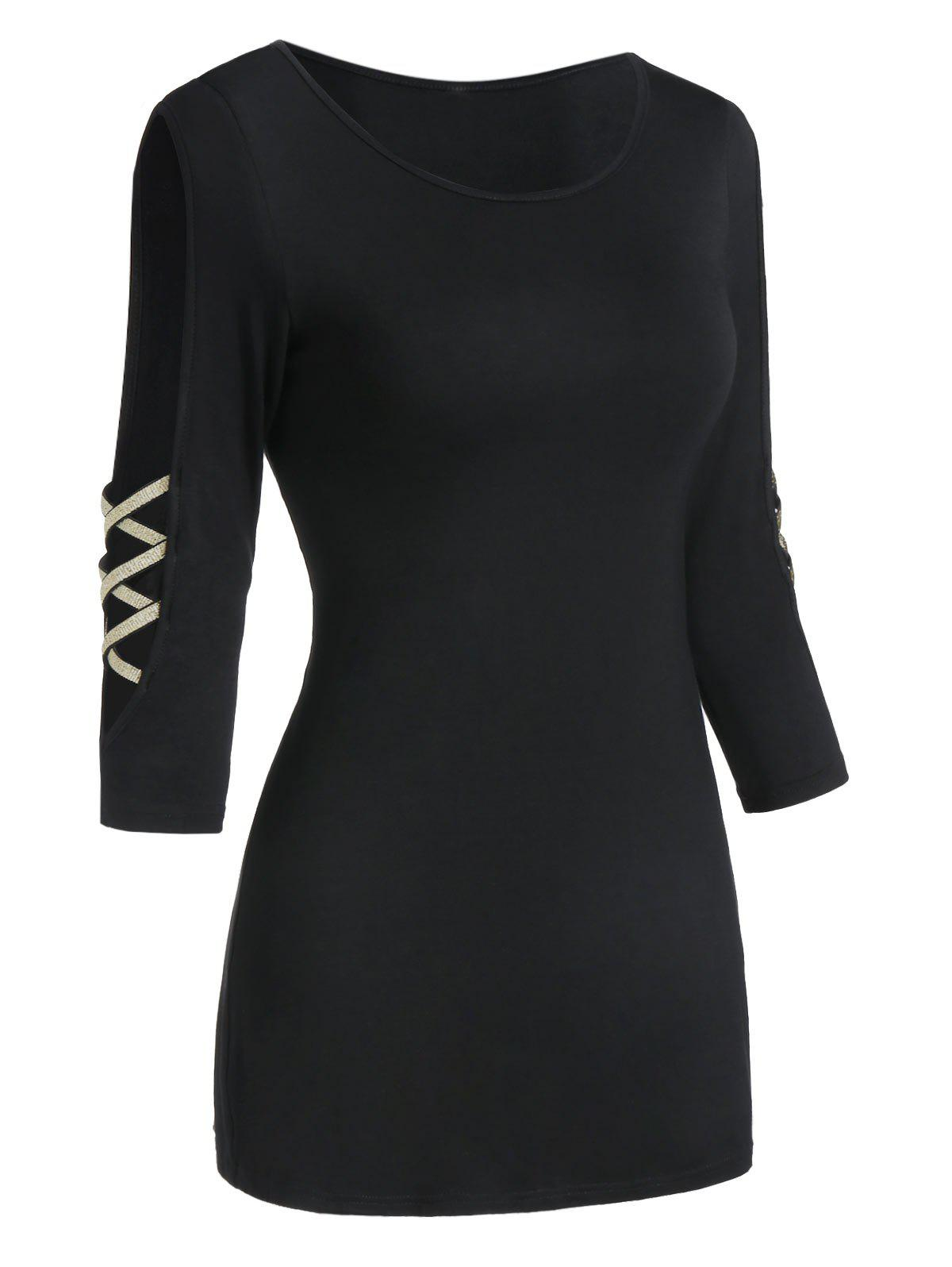 Cheap Cut Out Two Tone Round Collar T Shirt