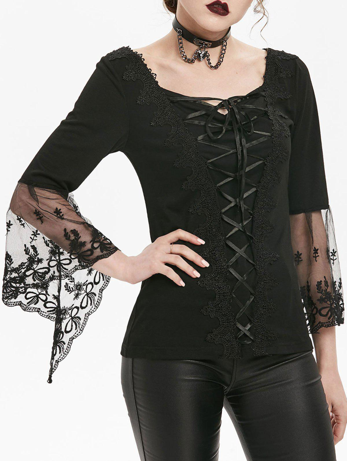 Fancy Applique Bell Sleeve Flower Lace T-shirt