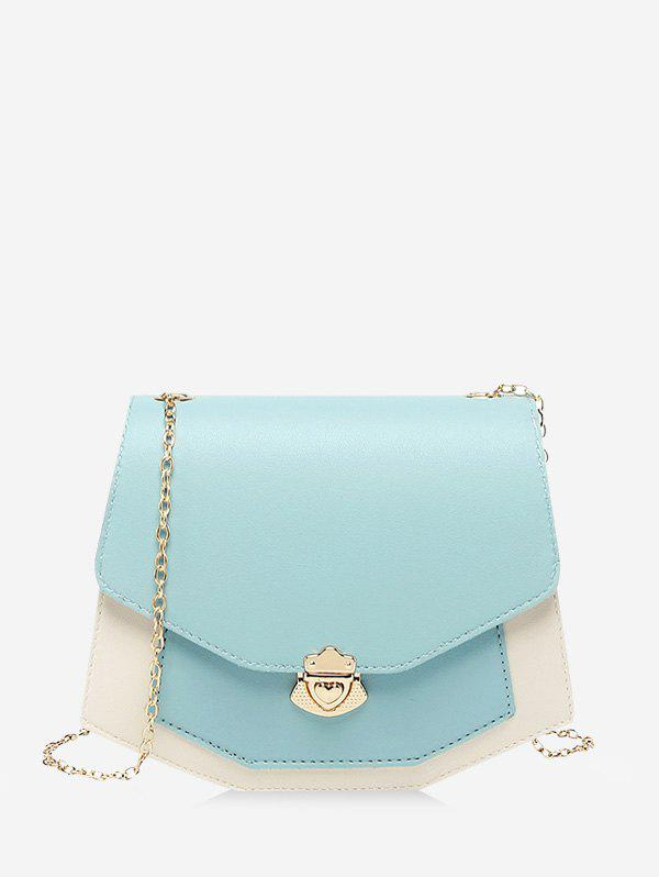 Fancy Color Block Chain Strap Crossbody Bag