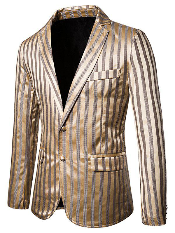 Discount Vertical Striped Single Breasted Notch Lapel Blazer