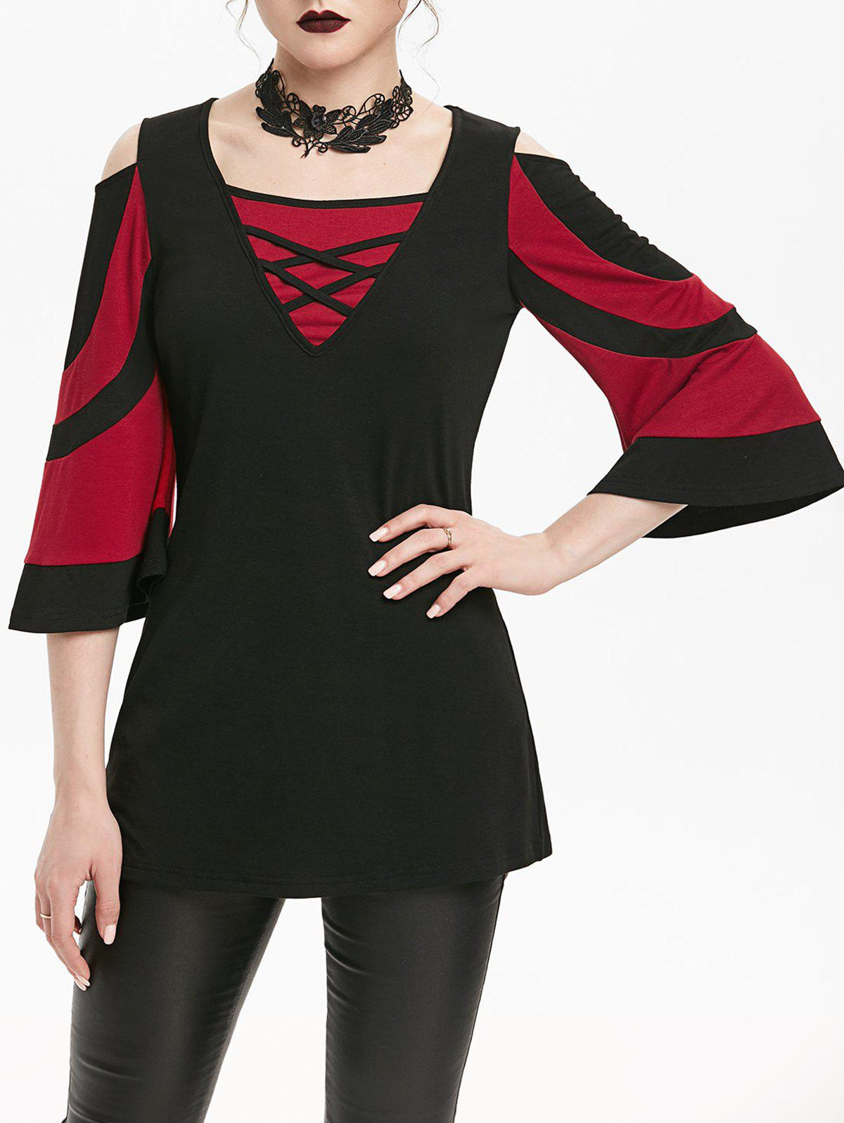 Best Two Tone Criss Cross Open Shoulder T-shirt
