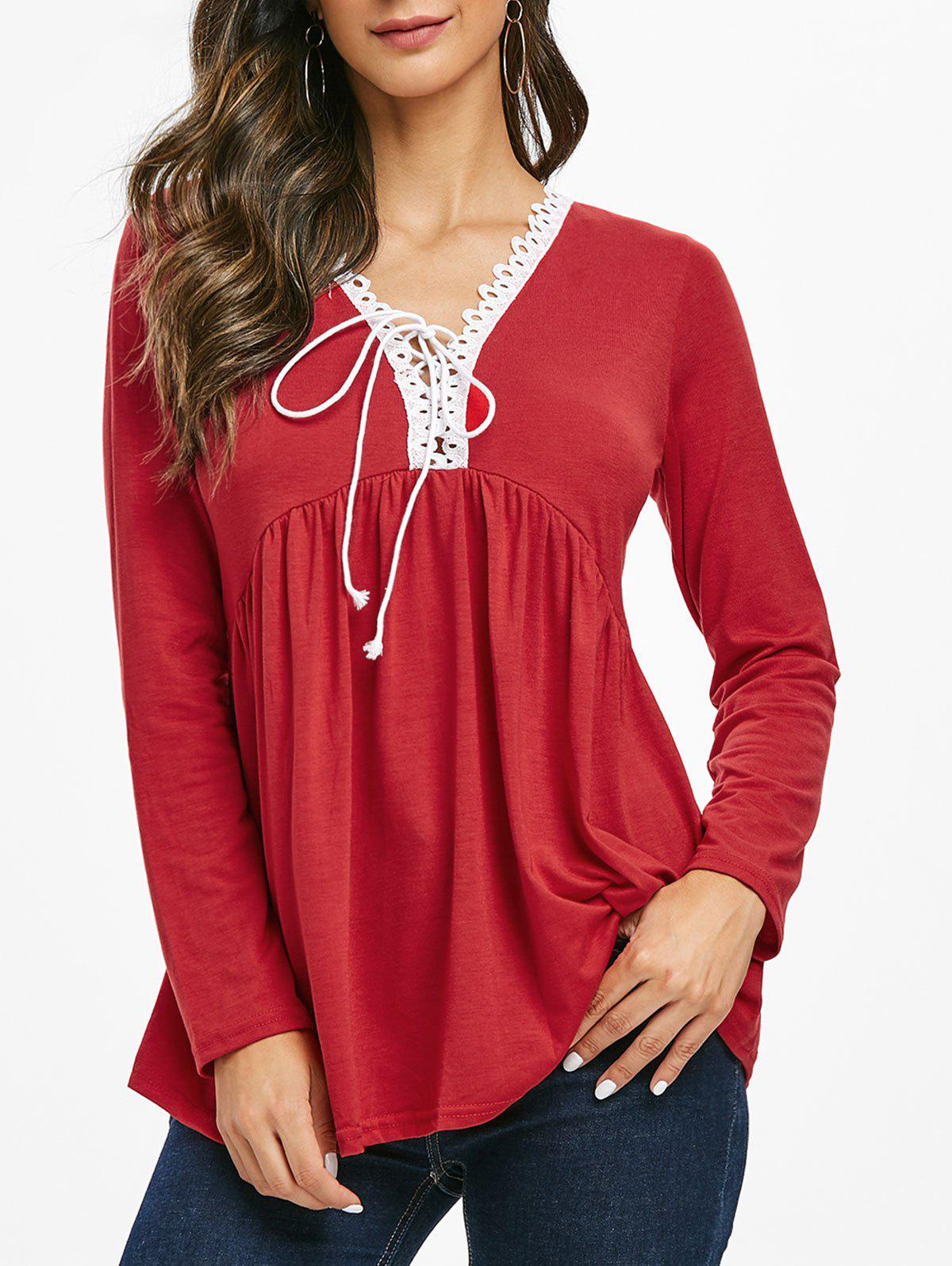 Latest Lace Trim Lace-up Long Sleeve Top