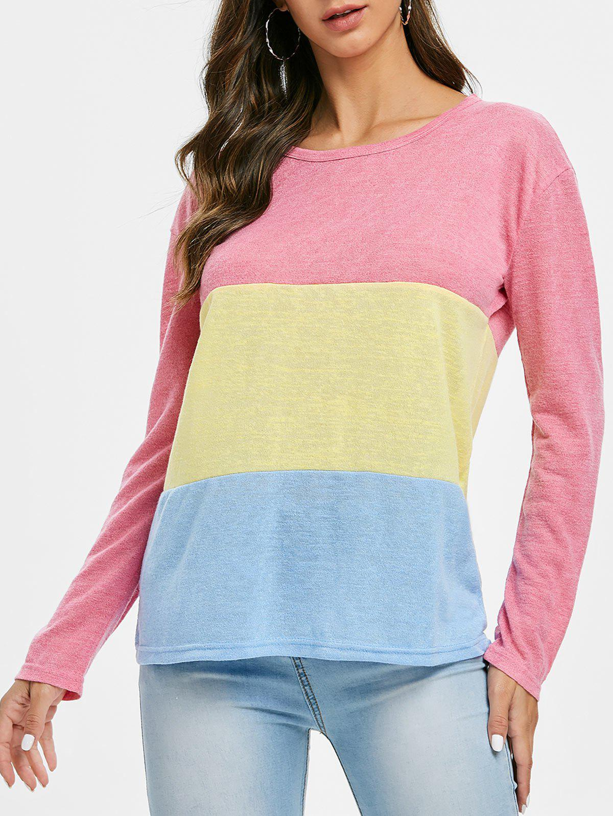 Discount Color Block Three Tone Knitted Top