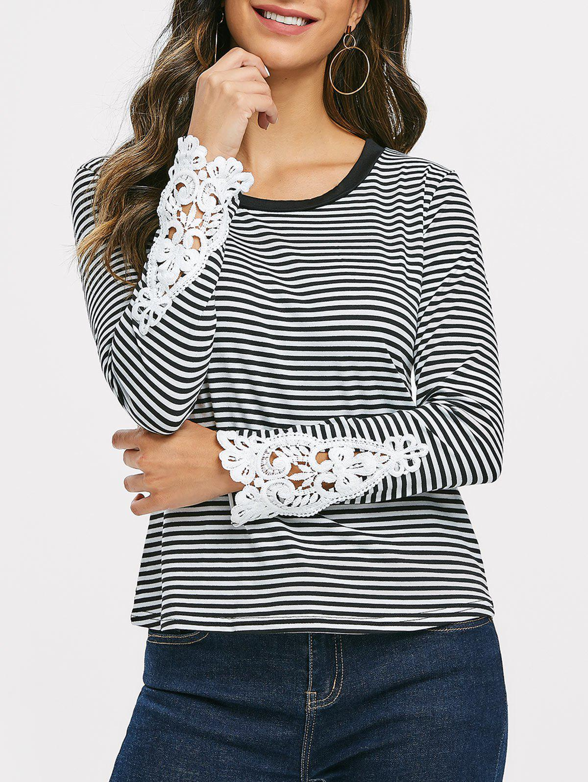 Best Lace Panel Striped Top