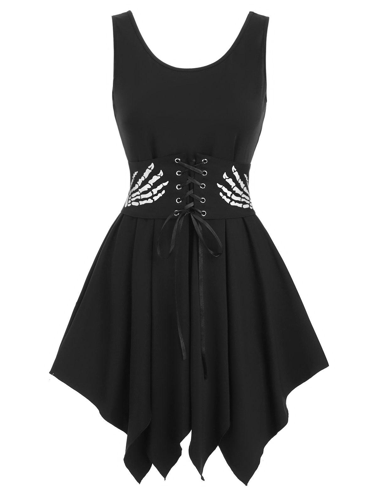 Chic Scoop Neck Asymmetric Dress with Skull Corset Belt