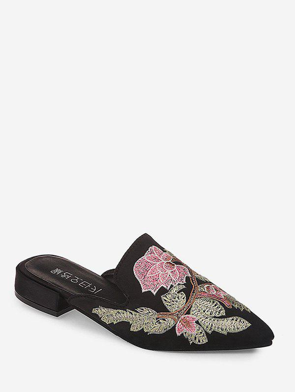 Discount Low Heel Embroidered Closed Toe Slides