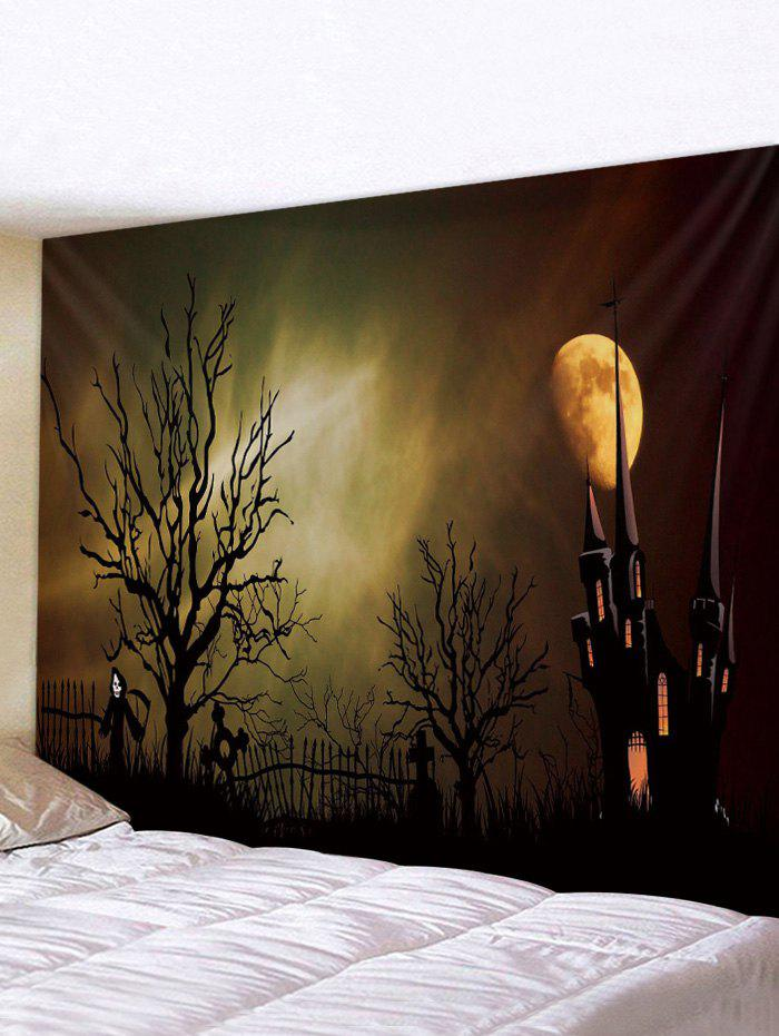 Best Halloween Night Castle Printed Tapestry Wall Hanging Art Decoration