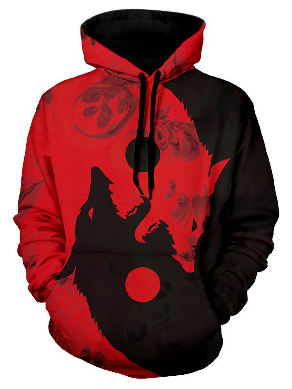 Hot Wolf Print Kangaroo Pocket Casual Hoodie