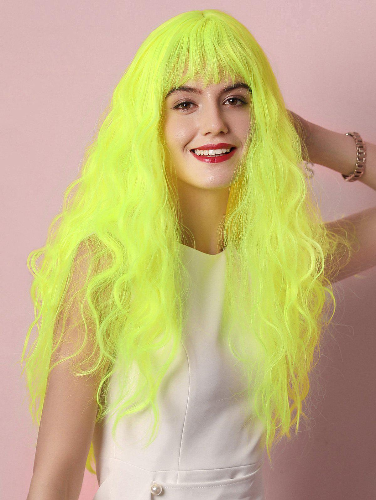 Sale Cosplay Halloween Fluorescent Long Curly See-through Synthetic Wig
