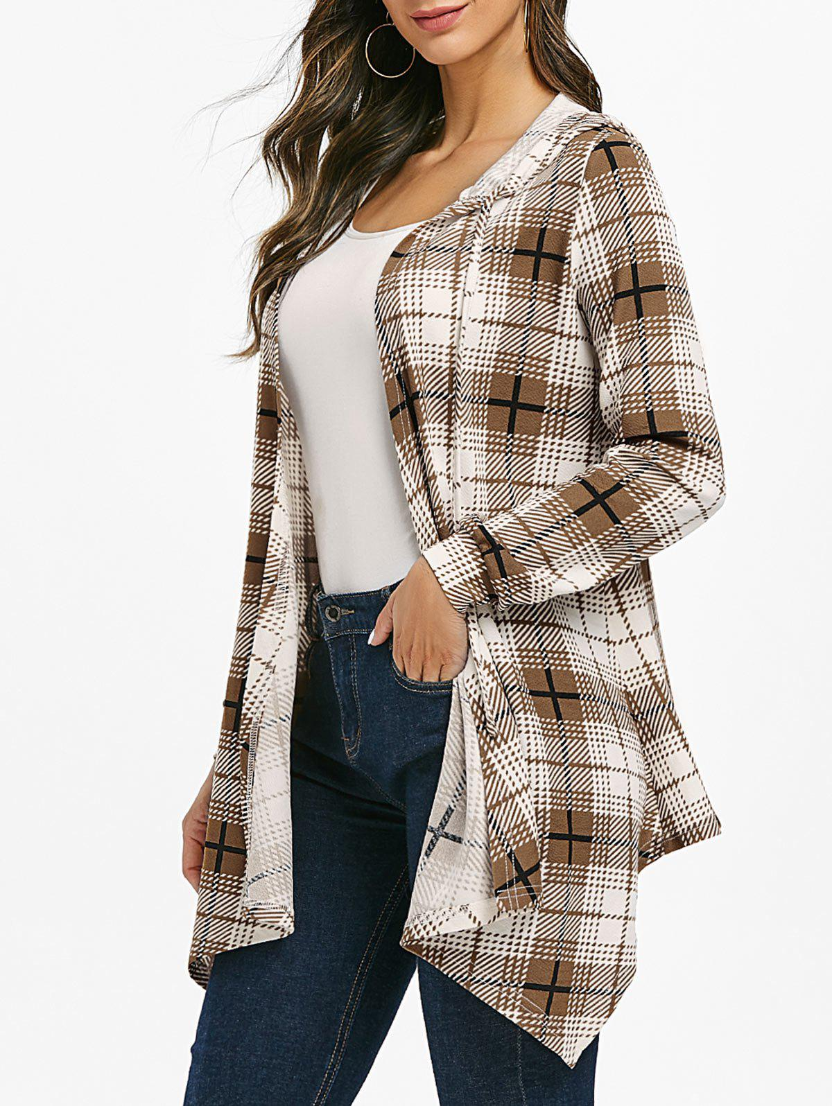 Unique Open Front Checked Hooded Cardigan