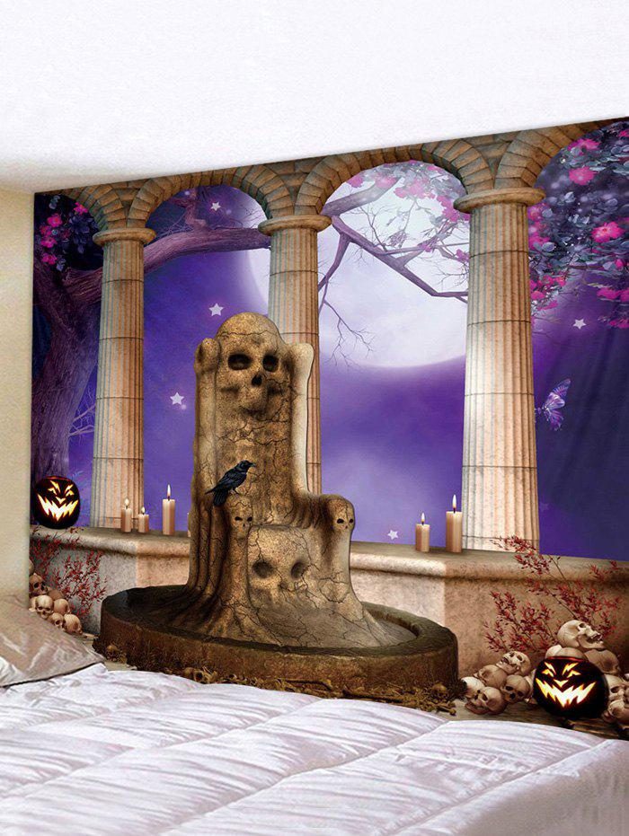 Affordable Halloween Night Skull Seat Print Tapestry Wall Hanging Art Decoration