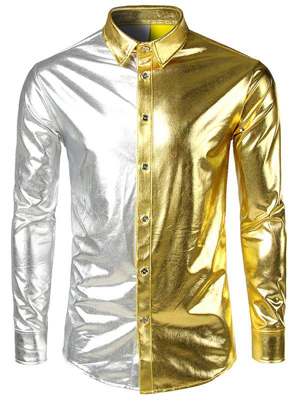 Fashion Two Tone Metallic Button Up Long Sleeve Shirt