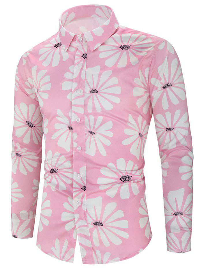 Trendy Flower Allover Print Long Sleeve Button Vacation Shirt