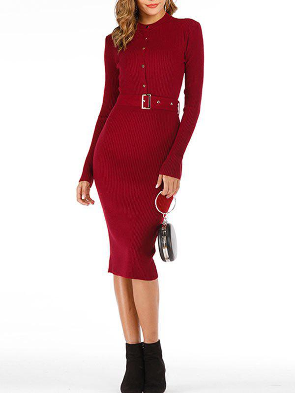 Trendy Snap-button Ribbed Midi Jumper Dress