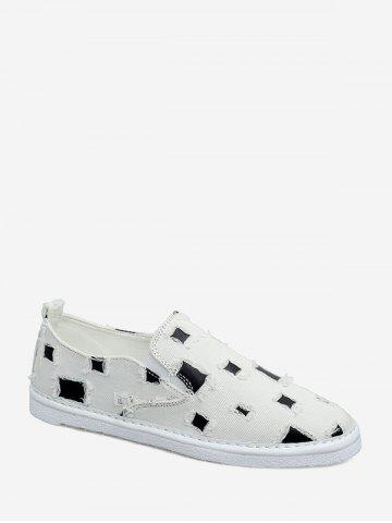 Vintage Distressed Patch Loafer Shoes - WHITE - EU 42