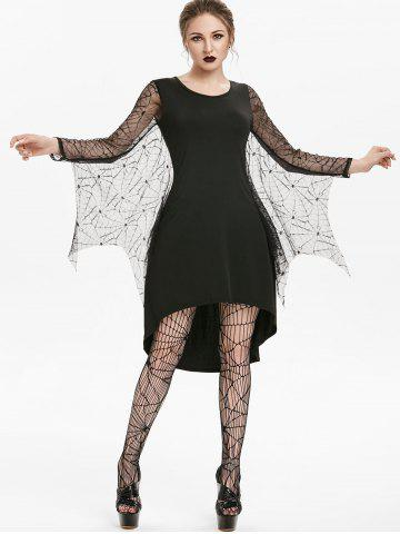 Asymmetric Spider Web Lace Insert High Low Gothic Dress