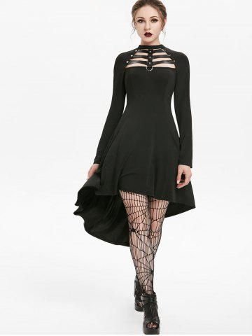 Embellished Faux Leather Insert Raglan Sleeve High Low Gothic Dress
