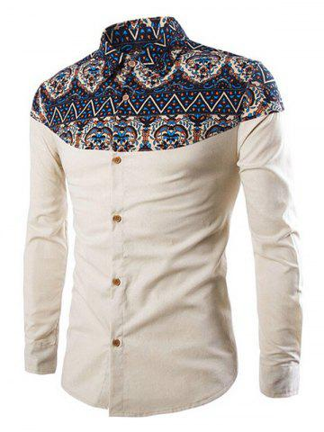 Ethnic Print Patch Button Up Long Sleeve Shirt