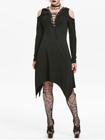 Hooded Cold Shoulder Lace-up Grommet Handkerchief Gothic Dress