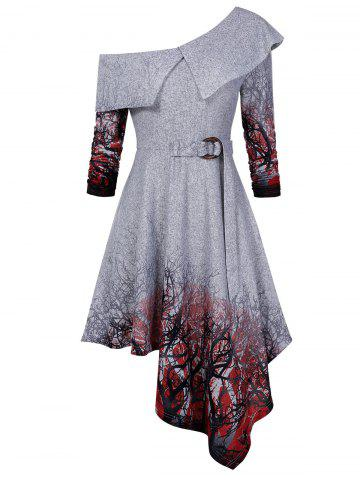 Tree Print Skew Collar Asymmetrical Dress