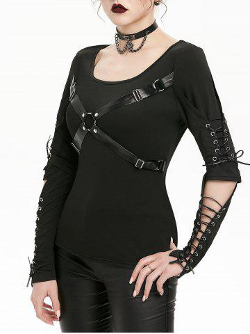 Harness Insert Lace-up Cut Out Elbow Gothic T-shirt - BLACK - XL