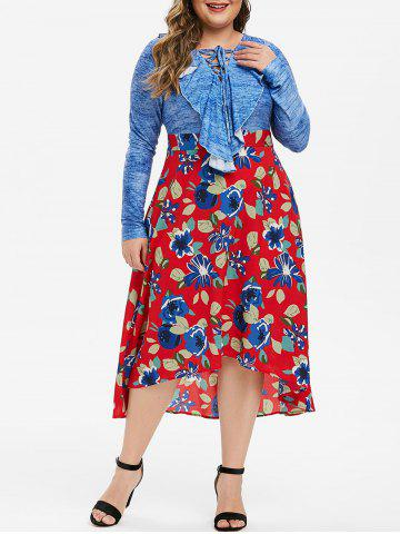 Plus Size Ruffle Lace Up Floral Midi Flare Dress - BLUEBERRY BLUE - 5X