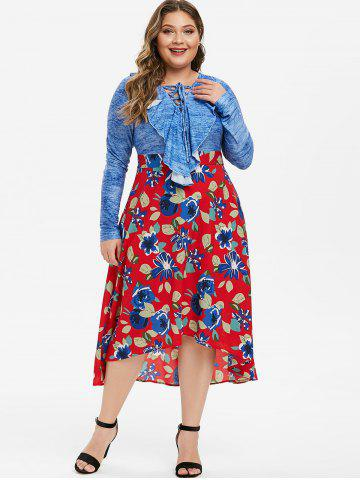 Plus Size Ruffle Lace Up Floral Midi Flare Dress