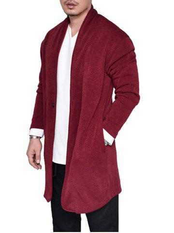 Plain One Button Knit Longline Cardigan - RED - M