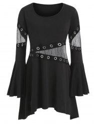 Mesh Panel Grommet Tape Flare Sleeve Plus Size Top -