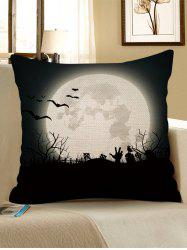 Halloween Bat Moon Printed Pillow Cover -