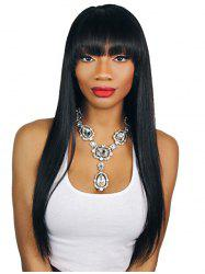 Soft Synthetic Heat Resistant Fiber Neat Bang Straight Long Wig -