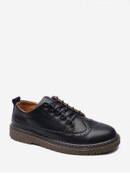 Round Toe Wingtip PU Leather Shoes -